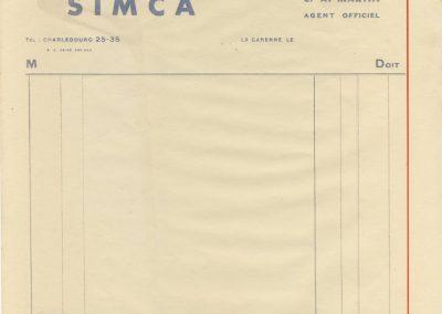 1936 Facture En-tête SIMCA 5 et 8.1
