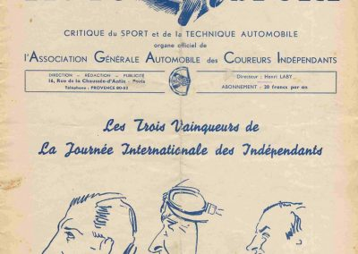 1937 02 05 Journée Internationale des Indépendants. Coupe de Vitesse, Amilcar, Grignard, de Burnay, Lewits, Mestivier, Biolay. 0