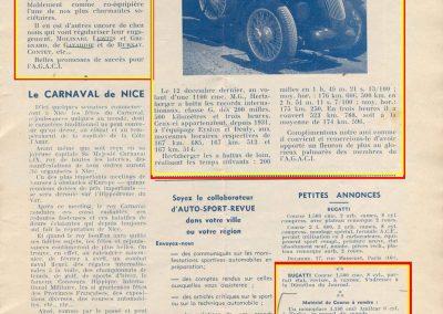 1937 12 12 Record Hertzberger M.G. 1100, 523 km à 174,596. Ventes par C.A. martin d'un Amilcar MCO, Moteur 6 cyl. et pièces. 1