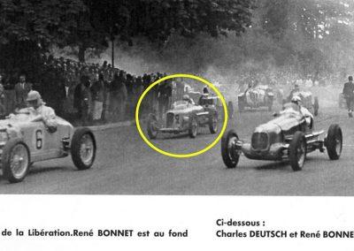 1945 09 09 Coupe de Paris et Libération, Bois Boulogne Porte Dauphine-Muette. Amilcar Mestivier MCO 1100, C.A. Martin MCO 1500, Grignard, Ondet Monoplace 6cyl. Amilcar, Polledry Alfa-Roméo 2