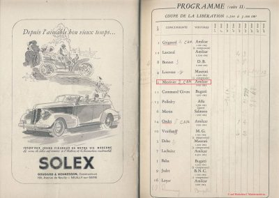 1945 09 09 Coupe de Paris et Libération, Dauphine. Amilcar Mestivier MCO 1100, C.A. Martin MCO 1500, Grignard, Ondet Monoplace 6cyl. Amilcar, Polledry Alfa-Roméo 1750. 10