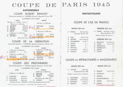 1945 09 09 Coupe de Paris et Libération, Dauphine. Amilcar Mestivier MCO 1100, C.A. Martin MCO 1500, Grignard, Ondet Monoplace 6cyl. Amilcar, Polledry Alfa-Roméo 1750. 2