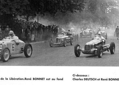 1945 09 09 Coupes de Paris, Porte Dauphine au Bois de Boulogne. Coupe de la Libération ; Amilcar MCO 1100 n°2 Mestivier, n°6 Balsa, Louveau Maserati 1500 n°4 et Ondet Amilcar n°14. 1