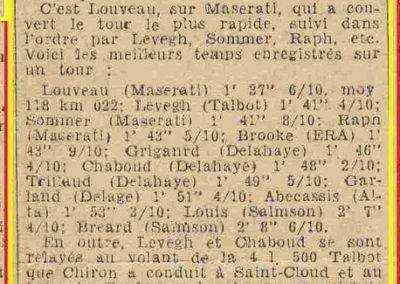 1946 07 10 Coupe du Salon au Bois de Boulogne. C.A. Martin Amilcar MCO 1500, n°96, 1er aux essais, 1'59''9-10. 2