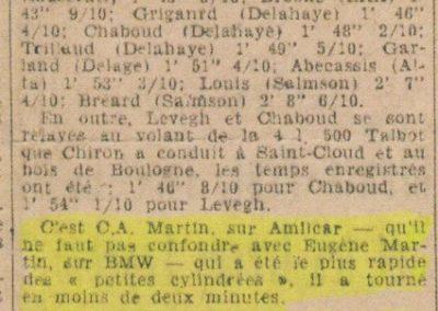 1946 07 10 la Coupe du Salon au Bois de Boulogne (Pte Dauphine), C.A. Martin sur Amilcar MCO 1500, 1er aux essais 1'59''9-10 en moins de 2'', Louveau Maserati, 1er en 2000cc. 2