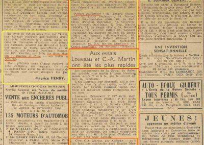 1946 07 10 la Coupe du Salon au Bois de Boulogne (Pte Dauphine), C.A. Martin sur Amilcar MCO 1500, 1er aux essais 1'59''9-10 en moins de 2'', Louveau Maserati, 1er en 2000cc. 3