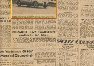 1946 09 06 Circuit de Saint-Cloud. Coupe Cons. Municipal et Ville de St-Cloud. Amilcar MCO 1500 C.A. Martin n°51, le 1100 de Mestivier n°38, 10ème et le Monoplace Amilcar de Ondet n°56, 12ème. 6