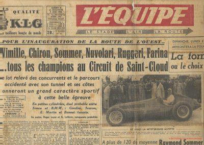 1946 09 06 GP Saint Cloud. ab. de Wimille et Farina des nouvelles Alfette (embrayage). 1