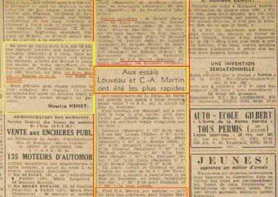 1946 10 06 Coupe du Salon au Bois de Boulogne, 75,6 km. Amilcar 1500 C.A. Martin 1er aux essais 1'59''9-10. Ondet Monoplace Amilcar 2'23''1-10. 1