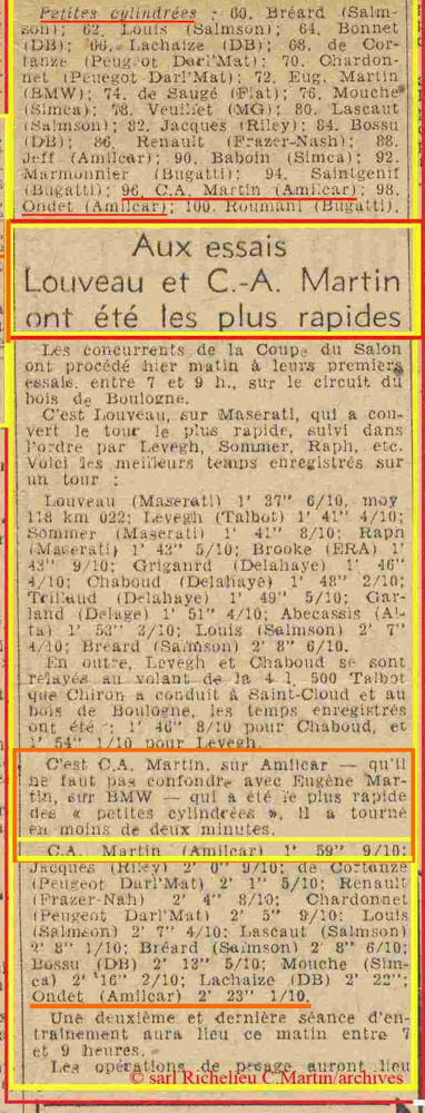 1946 10 06 Coupe du Salon au Bois de Boulogne, 75,6 km. Amilcar 1500 C.A. Martin 1er aux essais 1'59''9-10. Ondet Monoplace Amilcar 2'23''1-10. 2
