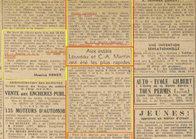 1946 -- 10 Coupe du Salon au Bois de Boulogne. CA Martin Amilcar MCO 1500 1er aux essais 1'59''9-10. 1