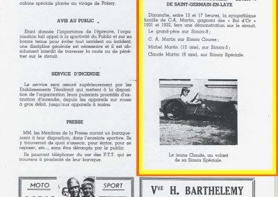 1947 14-15 09 le 19ème Bol d'Or, les Loges Claude Martin (votre serviteur) au volant du modèle réduit d'usine de l'Amilcar 1500cc. 1