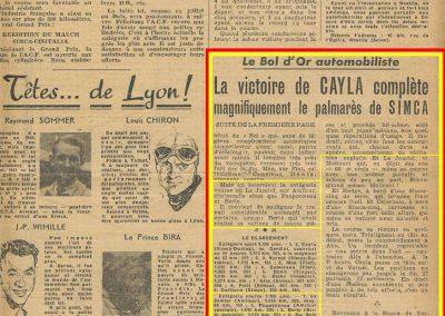 1947 15 09 Bol d'Or. Les Loges. 1er Cat. Course Amilcar Monoplace Le Jamtel. Cat. Sport 1er Cayla Simca-Gordini. Claude Martin sur la Baby Amilcar. 13