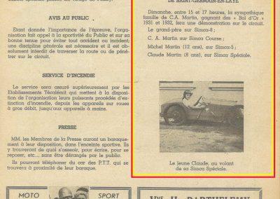 1947 15 09 Bol d'Or. Les Loges. 1er Cat. Course Amilcar Monoplace Le Jamtel. Cat. Sport 1er Cayla Simca-Gordini. Claude Martin sur la Baby Amilcar. 3