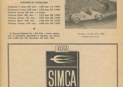 1947 15 09 Bol d'Or. Les Loges. 1er Course Amilcar Monoplace Le Jamtel. Cat. Sport 1er Cayla Simca-Gordini. Claude Martin sur la Baby Amilcar. 2