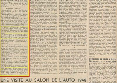 1947 21-22 10. Record à Montlhéry de 14 heures, Peugeot Darl'Mat, de Cortanze, Pugol, Goux et E. Martin, 1738,177 km à 144,848 kmh.1