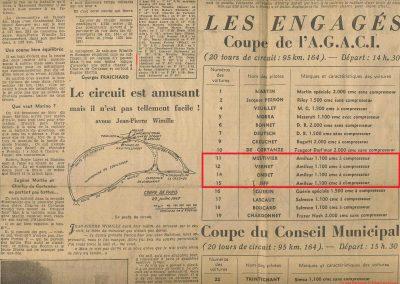 1947 27 07 Coupe de Paris à Longchamp-Bagatelle. Coupe du Conseil Municipal, Mestivier Amilcar MCO 1100, Ondet Monoplace et Jeff. 6 Simca, 8 Cisitalia. Coupe de l'AGACI. 6