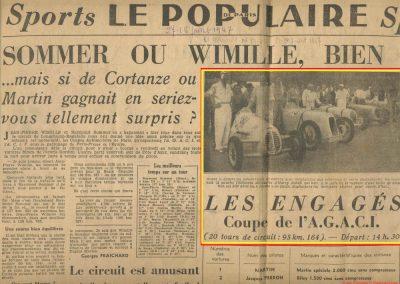 1947 28 07 Coupe de Paris, Porte Dauphine au Bois de Boulogne. Coupe de l'AGACI, Mestivier Amilcar MCO 1100, Ondet Monoplace et Jeff C.6. Coupe Cons. Municipal, 6 Simca et 8 Cisitalia engagées. 1