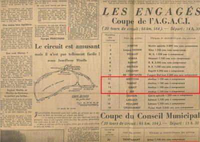 1947 28 07 Coupe de Paris, Porte Dauphine au Bois de Boulogne. Coupe de l'AGACI, Mestivier Amilcar MCO 1100, Ondet Monoplace et Jeff C.6. Coupe Cons. Municipal, 6 Simca et 8 Cisitalia engagées. 3