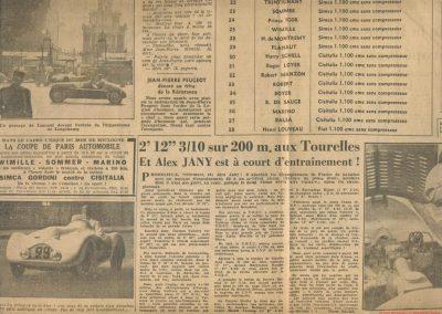 1947 28 07 Coupe de Paris, Porte Dauphine au Bois de Boulogne. Coupe de l'AGACI, Mestivier Amilcar MCO 1100, Ondet Monoplace et Jeff C.6. Coupe Cons. Municipal, 6 Simca et 8 Cisitalia engagées. 4