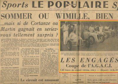 1947 28 07 Coupes Automobiles de Paris à Longchamp. Coupe de l'AGACI Mestivier Amilcar MCO 1100, Ondet Monoplace et Jeff. Coupe du Conseil Municipal 6 Simca, 8 Cisitalia. 2