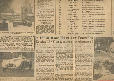 1947 28 07 Coupes Automobiles de Paris à Longchamp. Coupe de l'AGACI Mestivier Amilcar MCO 1100, Ondet Monoplace et Jeff. Coupe du Conseil Municipal 6 Simca, 8 Cisitalia. 5