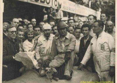 1948 05 06 Bol d'Or à Saint Germain en Laye, Simca-Gordini, 1 GS, cat. Sport, 1er Scaron (mon père à D, Buccaniéri à G. (lunette). Amilcar Monoplace, Le Jamtel, 1er cat. Course. 3