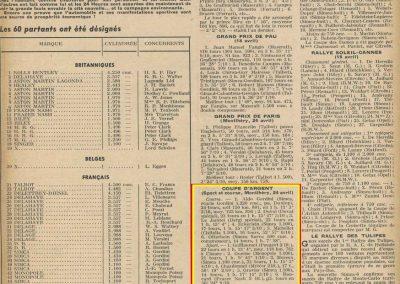 1949 24 04 Coupe d'Argent Amilcar 3ème Le Jamtel, G.P. Paris Grignard, Le Mans Pollédry.1