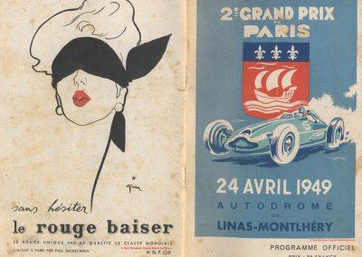 1949 24 04 GP Paris à Montlhéry, Hommage à Wimille, 1er Etancelin-Talbot. Coupe des Prisonniers, une Robert Benoist, une de la Libération. 1500 à compr. 4500 sans. 1
