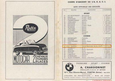 1949 24 04 GP de Paris, le 2ème ''la Coupe d'Argent'' à Linas-Monlhéry. Amilcar 6 cyl. usine Monoplace ''Dergi Spécial'' 1er Cat. 1100, Le Jamtel. 10