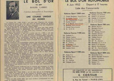 1952 07-09 06 le 24ème Bol d'Or à Montlhéry. C.A. Martin 1er Cat. Simca Aronde 2122 km., n°5. Le Jamtel Redex, accident sur Porsche. 2 (Copier)