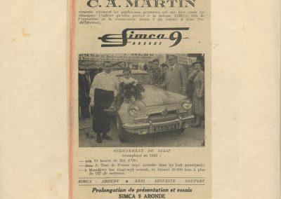 1952 10 06 Bol d'Or à Montlhéry. C.A Martin Simca Aronde 1er cat 1500, 6ème au général. 1