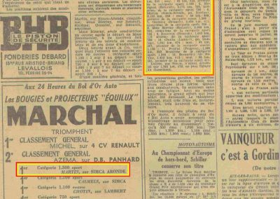 1952 10 06 Bol d'Or à Montlhéry. C.A Martin Simca Aronde 1er cat 1500, 6ème au général. 2