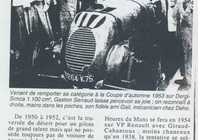 1953 27 02 Coupe d'Automne à Montlhéry. 1er Cat. Gaston Serraud (Dergi-Simca-Dého) Amilcar Monoplace. 1