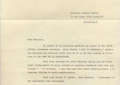 1968 01 06 Monte-Carlo Vétéran Car Club. La date du 2ème Tour de la principauté est reportée ''Louis Chiron''. 1