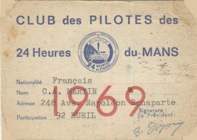 1969 Club des Pilotes des 24 Heures du Mans. 1