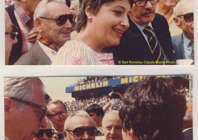 1973 -- 06 Aux cinquantenair des 24 h. du Mans. Schomberg, C.A. Martin, E. Avis (Secretaire d'Etat), Martin (Ingénieur), le Comte Lurani et Mouche. En bas, Flahaut, Mouche, mon père. 1