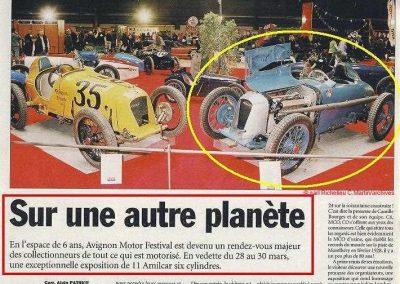 2008 28 03 Avignon Motor Festival. C. Bourge a réuni 11 Amilcar 6 cyl dont les 2 MCO 1100 et 1500cc des Records (207 et 211 kmh). 1